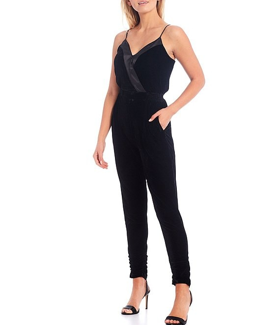 Color:Black - Image 1 - Sleeveless V-Neck Satin Trimmed Tapered Ruched Leg Velvet Jumpsuit