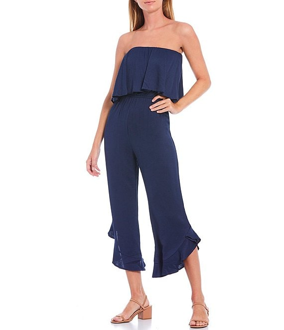 Color:Navy - Image 1 - Strapless Ruffled Asymmetrical Hem Crop Jumpsuit