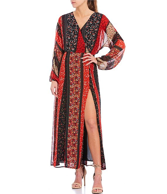 Color:Red/Multi - Image 1 - V-Neck Patchwork Print Dolman Sleeve Front Slit Maxi Dress