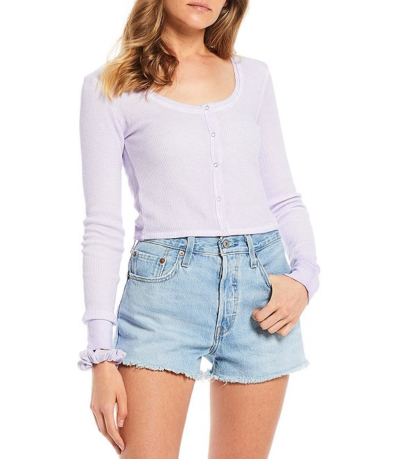 Color:Lilac - Image 1 - Sundown by Splendid Solana Freeze Dye Thermal Button Front Top