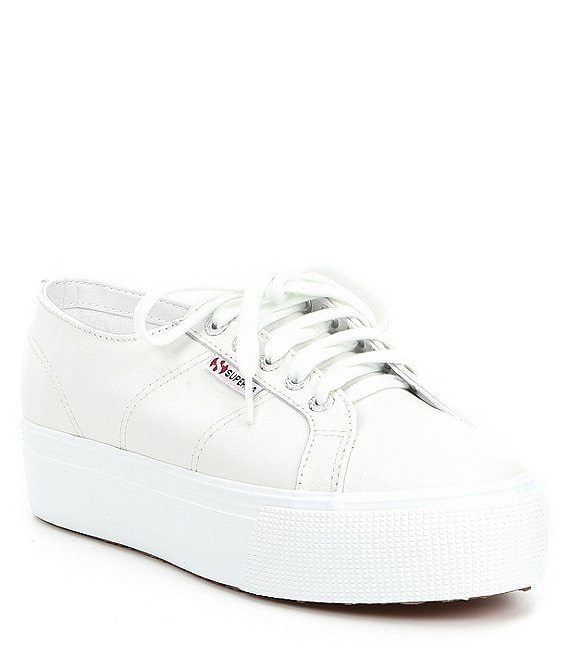 Color:White - Image 1 - Women's 2790 Nappa Leather Flatform Sneakers