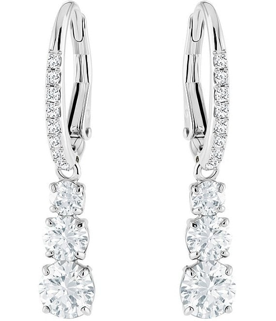 Color:Crystal - Image 1 - Attract Trilogy Round Earrings