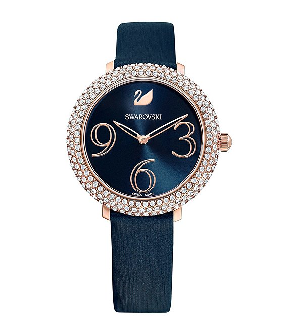 Swarovski Blue Crystal Frost Swiss Quartz Analog Watch