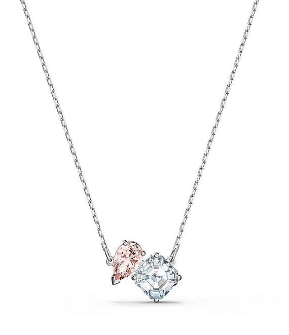 Color:Silver - Image 1 - Pink Crystal Attract Soul Necklace