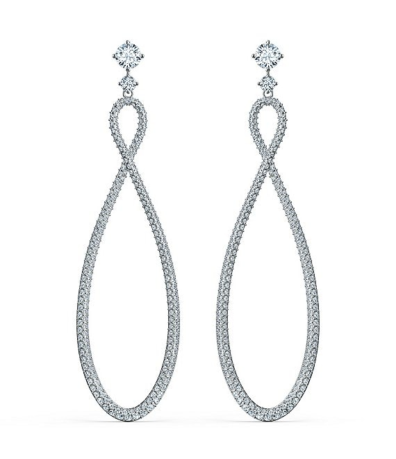 Color:Silver/Crystal - Image 1 - Crystal Infinity Hoop Pierced Earrings