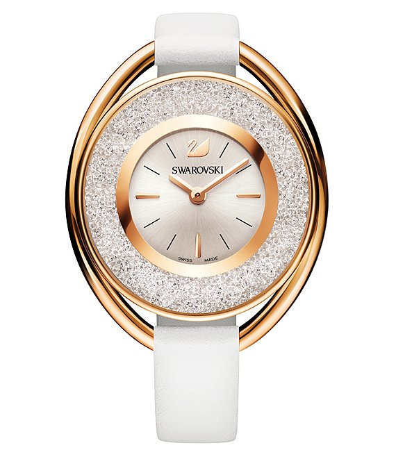 Swarovski Crystalline Analog Leather-Strap Watch