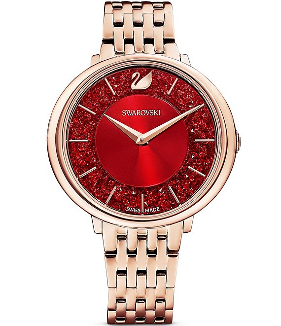 Color:Rose Gold - Image 1 - Crystalline Chic Rose Gold With Red Dial Bracelet Watch