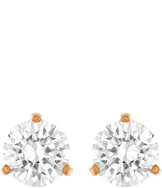 Color:White/Multi - Image 1 - Solitaire Stud Earrings
