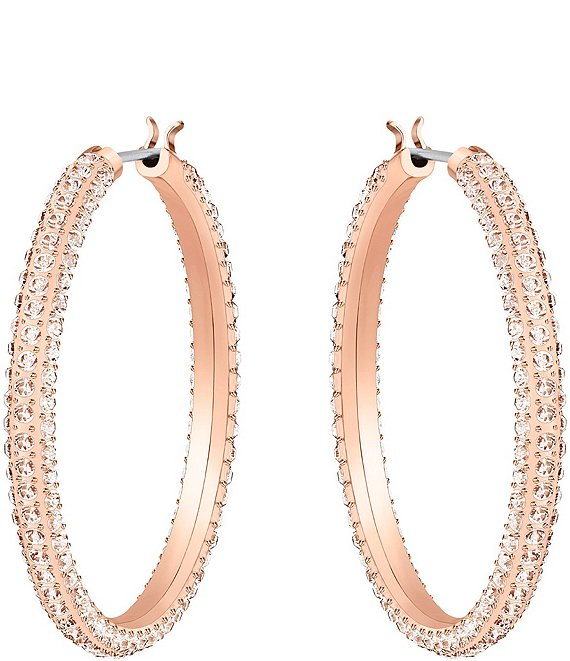 Color:Rose Gold Pink - Image 1 - Stone Hoop Pierced Earrings