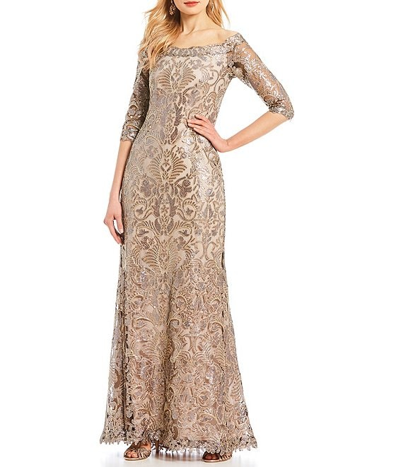 Color:Copper Shadow - Image 1 - Off-The-Shoulder 3/4 Sleeve Sequin Lace Gown