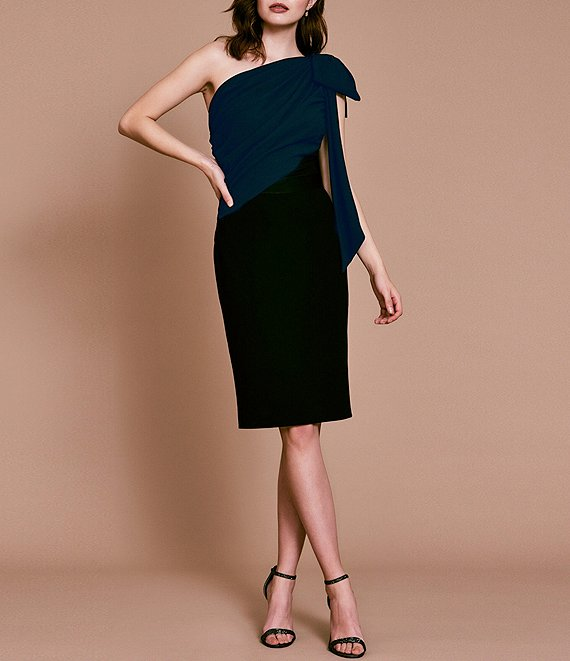 Color:Navy/Black - Image 1 - Bow Shoulder Color Block Crepe Dress