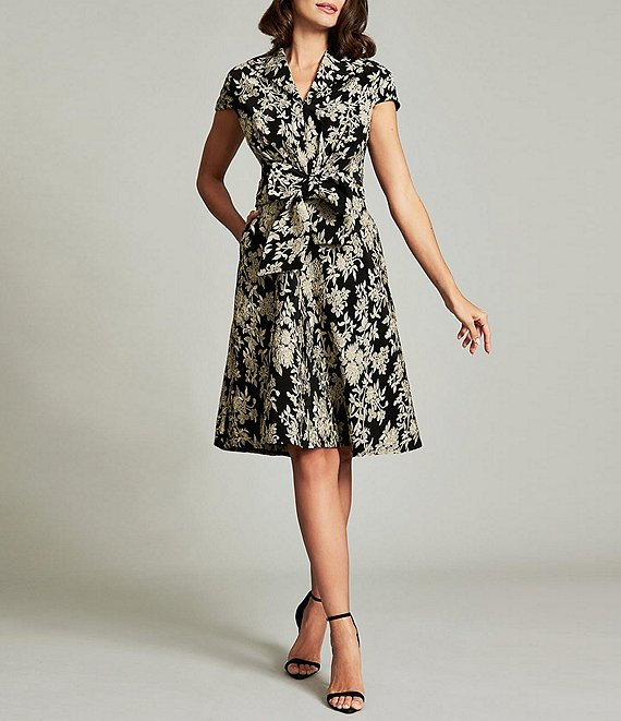 Color:Light Gold/Black - Image 1 - Cap Sleeve Bow Front Cherry Blossom Jacquard Dress