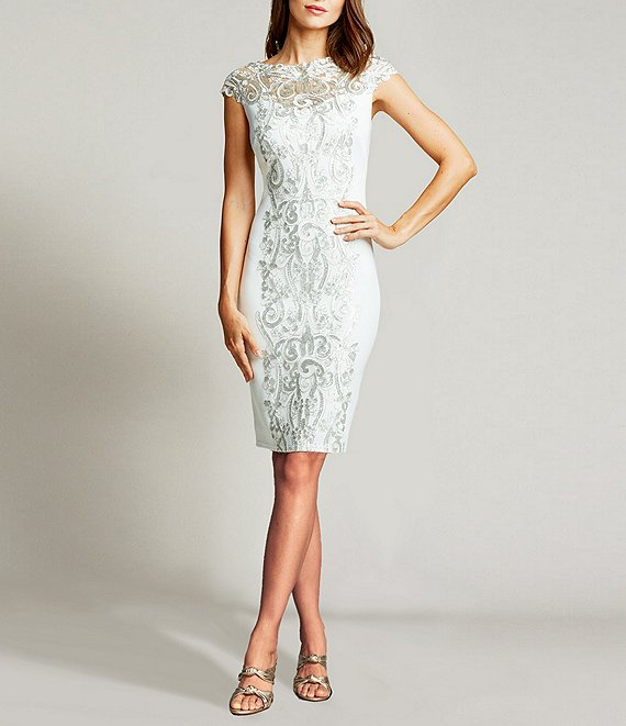 Color:Silver/Ivory - Image 1 - Illusion Center Lace Boat Neck Scuba Crepe Sheath Dress