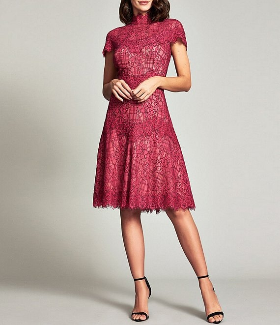 Color:Fuschia/Nude - Image 1 - Illusion Lace Mock Neck Short Sleeve Dress