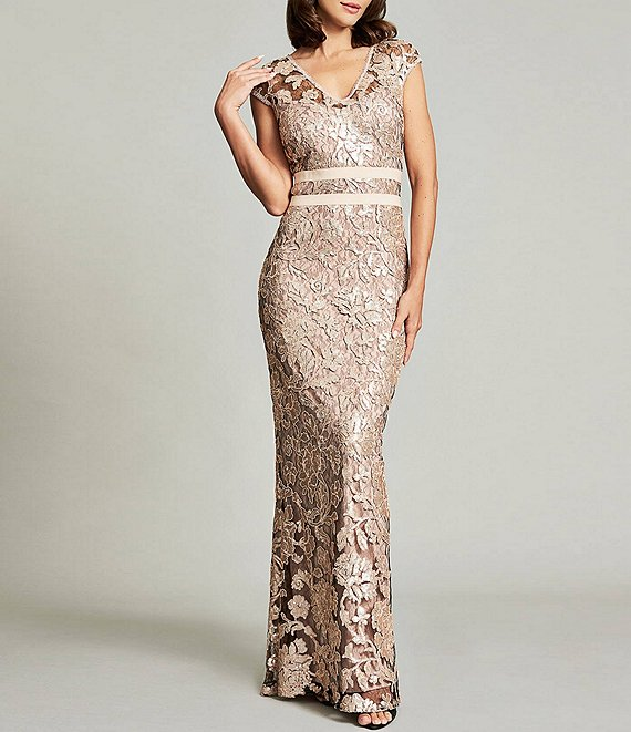 Color:Ginseng/Pale Pink - Image 1 - Illusion V-Neck Cap Sleeve Sequin Lace Column Gown
