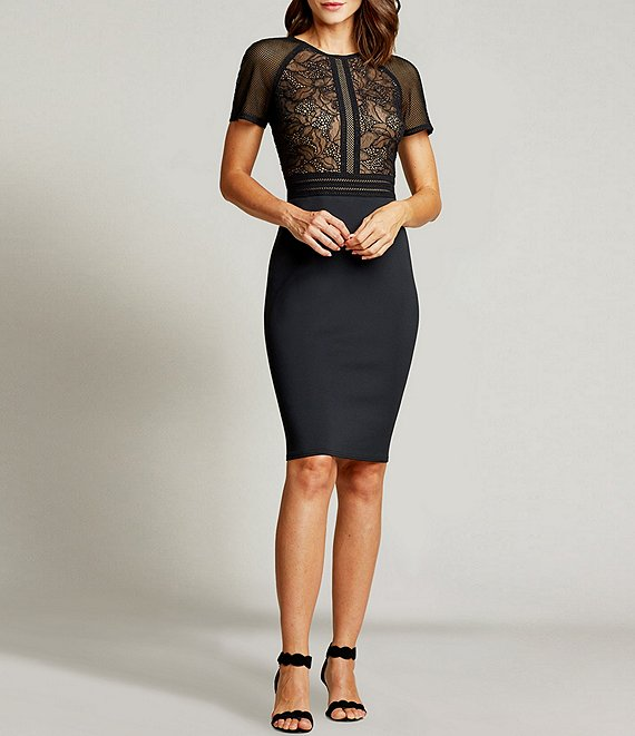Color:Black/Nude - Image 1 - Lattice Trim Lace Bodice Scuba Crepe Sheath Dress