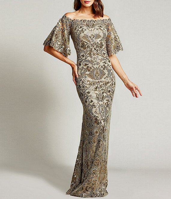 Color:Pumice - Image 1 - Off-The-Shoulder Flutter Sleeve Sequin Lace Gown