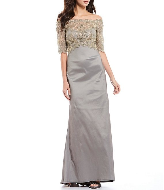 Color:Smoke Pearl - Image 1 - Off-the-Shoulder Lace Bodice Gown