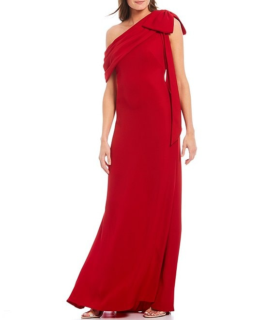 Color:Flame - Image 1 - One Shoulder Bow Detail Crepe Gown