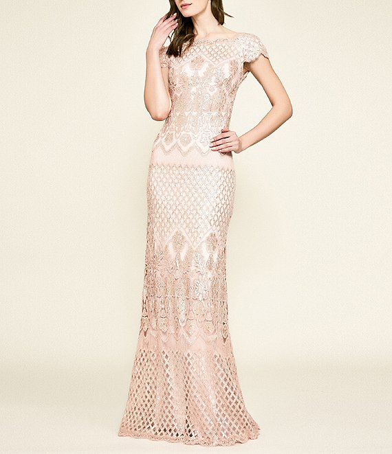 Color:Antique Pink - Image 1 - Scallop Cap Sleeve Sequined Lace Column Gown