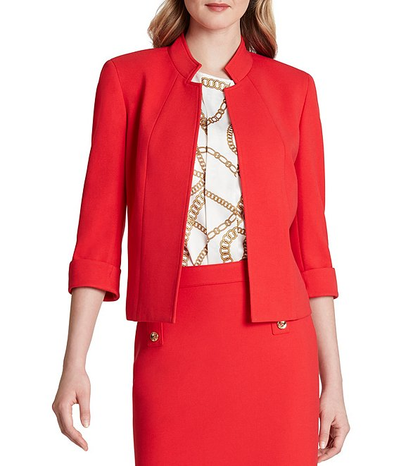 Color:Red - Image 1 - 3/4 Sleeve Double Weave Stand Collar Jacket