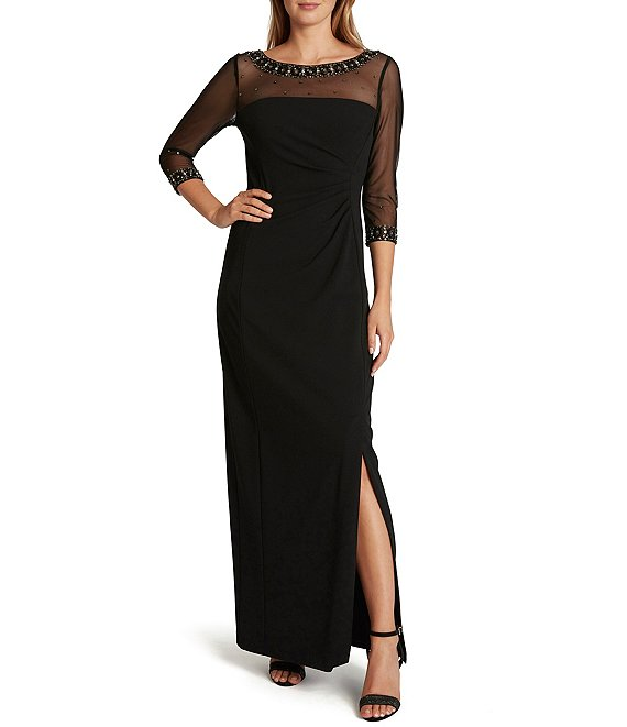 Color:Black - Image 1 - Beaded Illusion Neck 3/4 Sleeve Stretch Crepe Gown