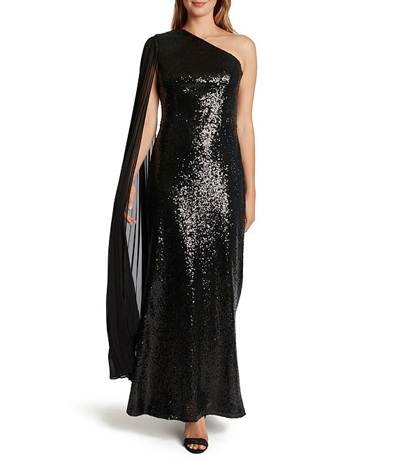 Color:Black - Image 1 - Chiffon One Shoulder Stretch Sequin Gown