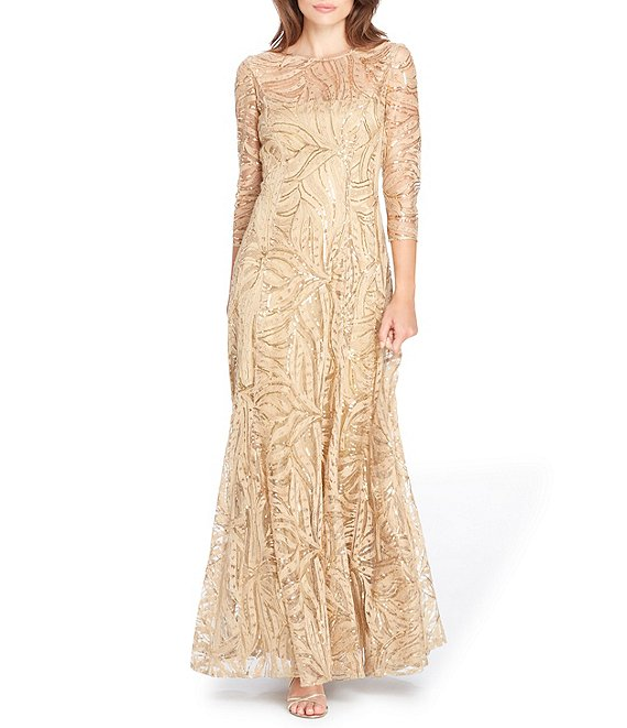 Color:Champagne - Image 1 - Embroidered A Line Gown