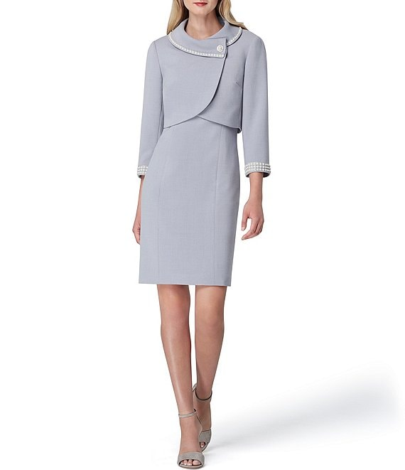 Color:Silver Grey - Image 1 - Faux Pearl Trim Envelope Collar Jacket 2-Piece Dress Suit