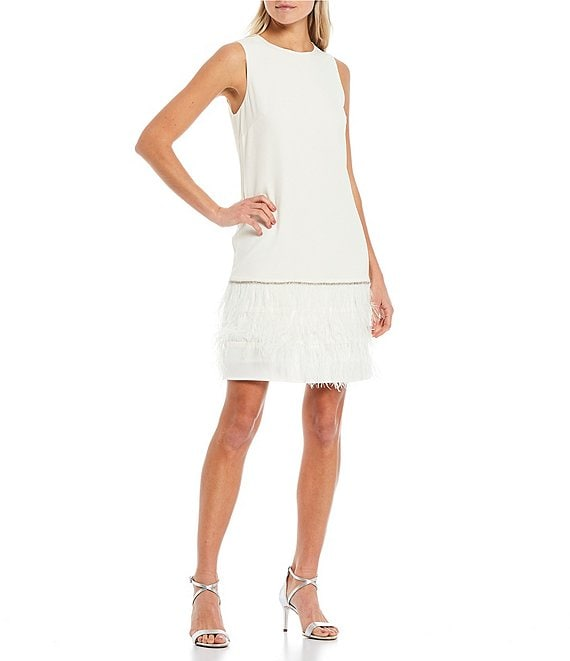 Color:Ivory - Image 1 - Feather Trim Sleeveless Stretch Scuba Shift Dress