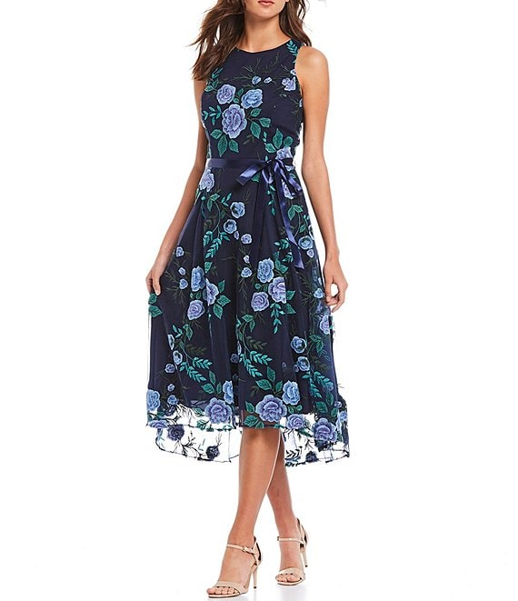 Tahari ASL Floral Embroidered Mesh Midi Dress