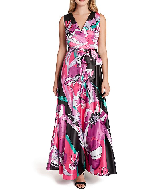 Color:Black Coral Floral - Image 1 - Floral Print V-Neck Tie Waist Charmeuse Maxi Dress
