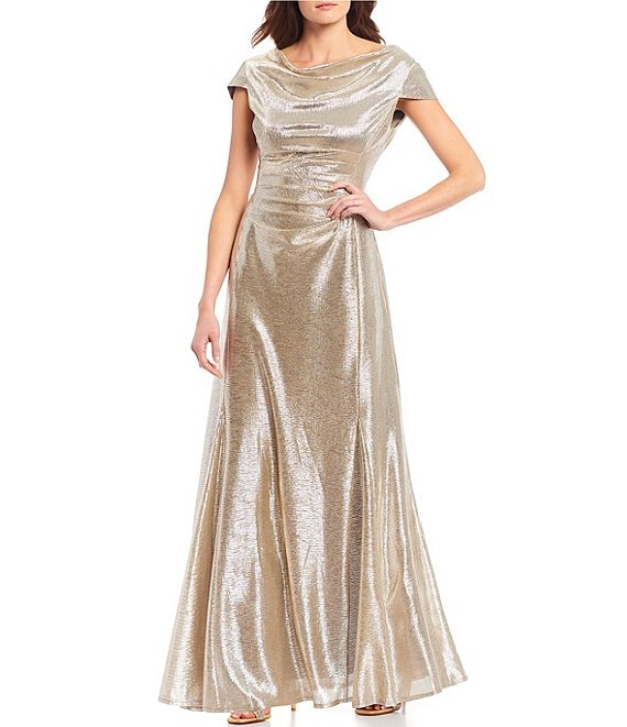 Color:Silver Powder - Image 1 - Long Cap-Sleeve Metallic Knit Gown