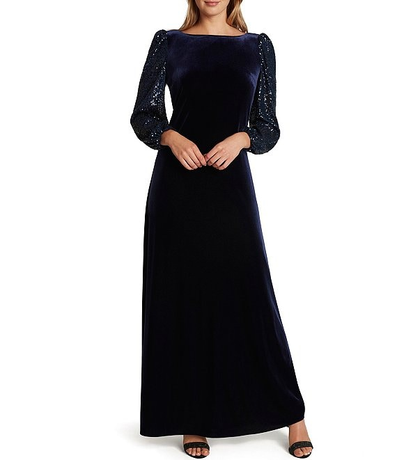 Color:Navy - Image 1 - Long Sequin Blouson Sleeve Boat Neck Scoop Back Stretch Velvet Gown