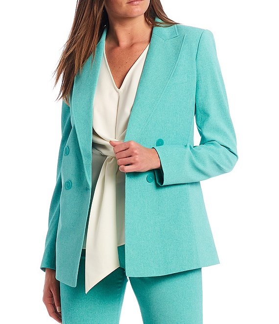 Color:Dynasty Green - Image 1 - Long Sleeve Double Breasted Jacket