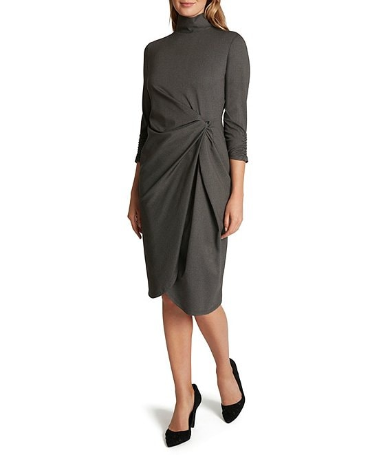 Color:Grey Herringbone - Image 1 - Mock Neck 3/4 Sleeve Twist Waist Stretch Ponte Dress