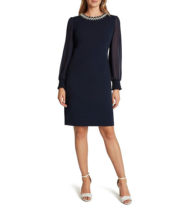 Color:Navy - Image 1 - Pearl Neck Illusion Sleeve Stretch Crepe Sheath Dress