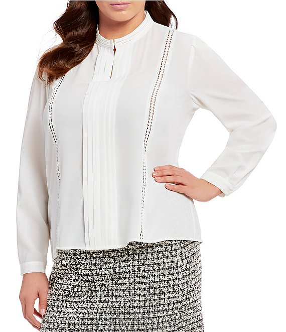 Tahari ASL Plus Size Pleat Front Braid and Lace Trim Top