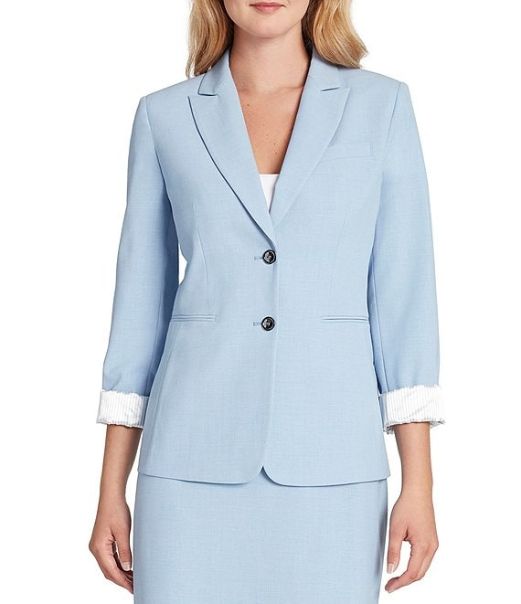 Color:Chambray Blue - Image 1 - Roll Sleeve Bi-Stretch Two Button Jacket