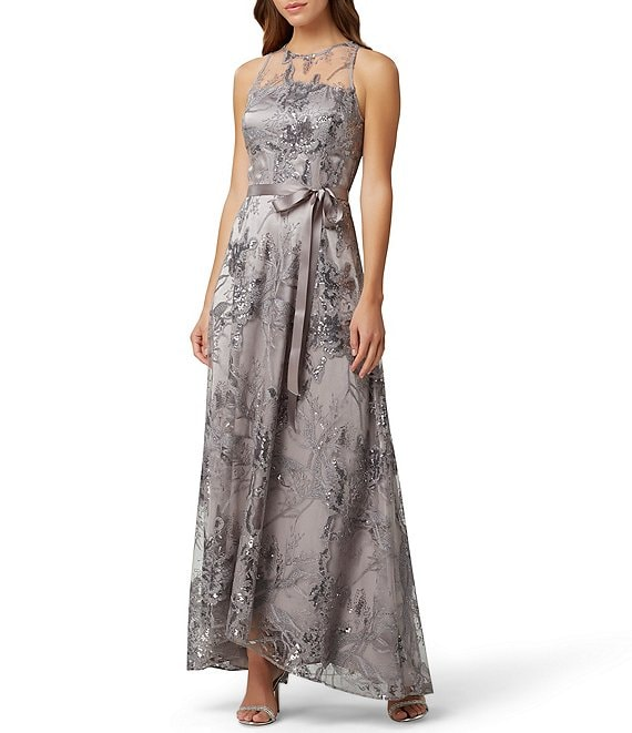 Tahari ASL Sequin Embroidered Illusion Neck Satin Ribbon Tie Waist Gown