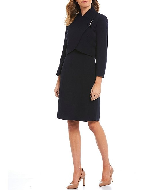Color:Navy - Image 1 - Stretch Double Weave Envelope Collar Jacket 2-Piece Dress Suit