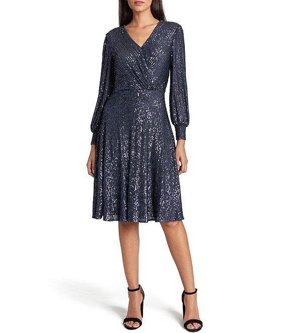 Color:Slate - Image 1 - Stretch Allover Sequin Faux Wrap Dress