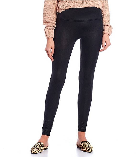 Color:Black - Image 1 - High Waist Coated Knit Leggings