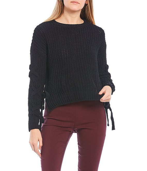 Color:Black - Image 1 - Long-Lace-Up-Sleeve Tie-Side Sweater