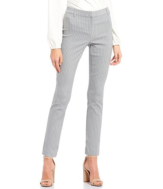 Color:Grey - Image 1 - Pin Stripe Front-Zipper Ankle Pants