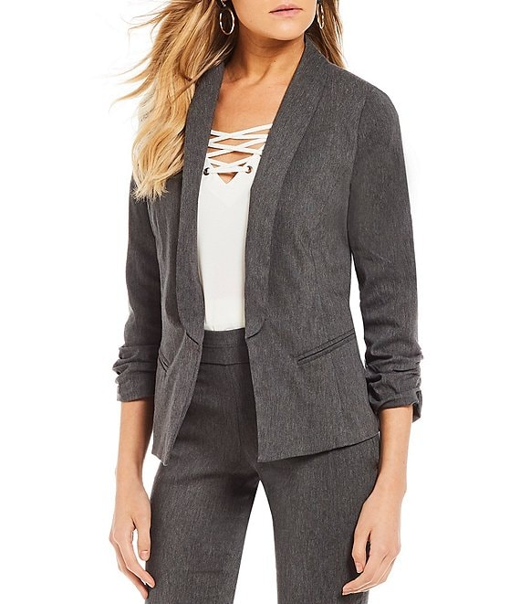 Color:Grey Heather - Image 1 - Ruched-Sleeve Coordinating Suiting Jacket