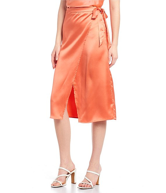 Color:Burnt Coral - Image 1 - Coordinating Satin Tie-Side Wrap Skirt