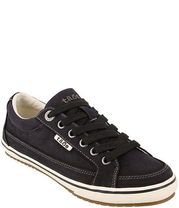 Color:Black Distressed - Image 1 - Moc Star Washed Canvas Sneakers