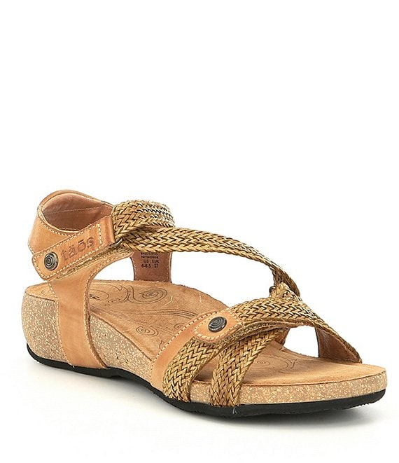 Color:Camel - Image 1 - Trulie Woven Leather Sandals
