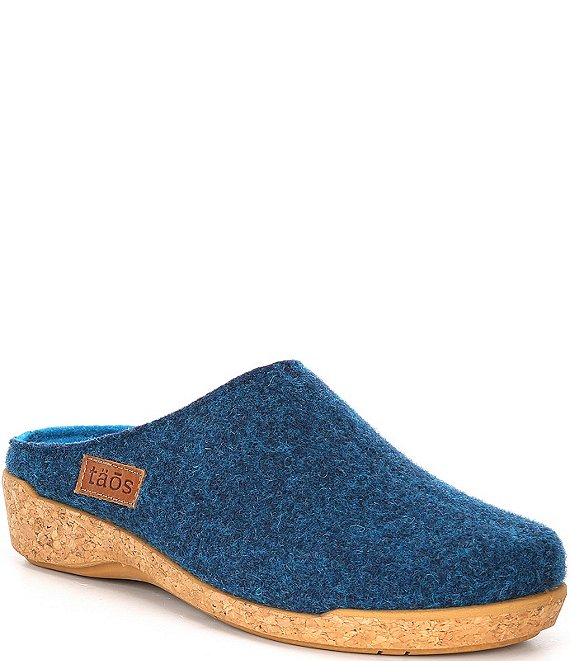 Color:Blue - Image 1 - Woollery Wool Cork Wedge Clogs